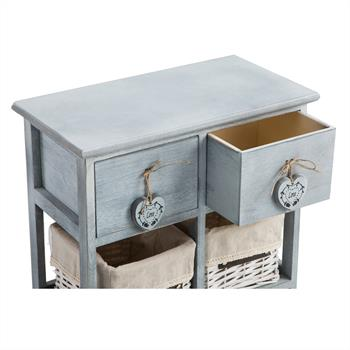 Commode ROCCO, 2 tiroirs et 4 paniers, gris