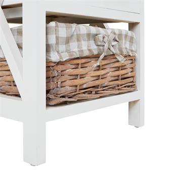 Table de chevet PERUGIA avec 1 tiroir et 1 panier, en bois blanc et brun