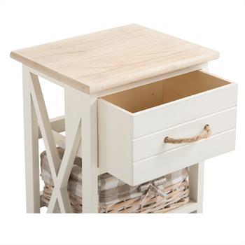 Table de chevet PERUGIA, 1 tiroir et 2 paniers, blanc