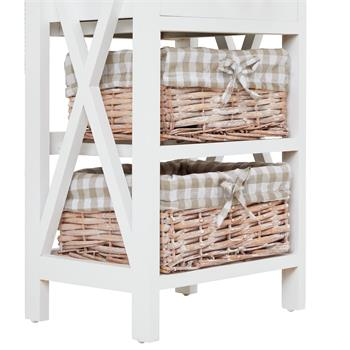 Table de chevet PERUGIA avec 1 tiroir et 2 paniers, en bois blanc et brun
