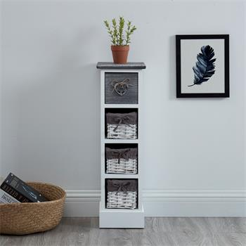 Chiffonnier FLOWER avec 1 tiroir et 3 paniers, en bois de paulownia blanc et gris