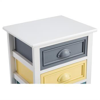 Chiffonnier FLORENZ, 3 tiroirs et 1 panier, blanc