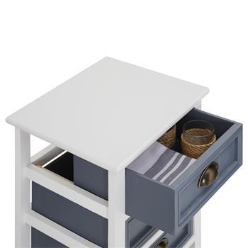 Chiffonnier TOSCANA, 3 tiroirs et 1 panier, blanc
