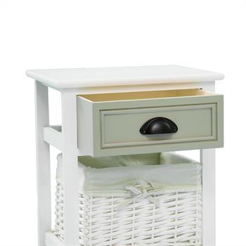 Table de chevet TOSCANA, 1 tiroir et 1 panier, blanc