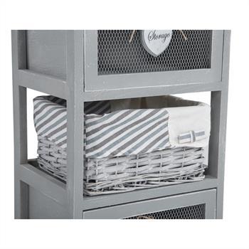 Commode MAURICE, 2 tiroirs et 1 panier, gris