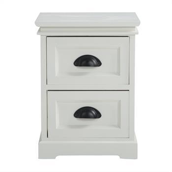 Table de chevet LANDHAUS, 2 tiroirs, blanc