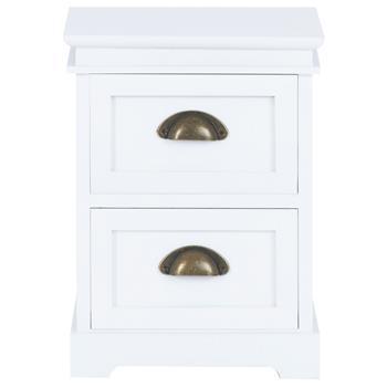 Table de chevet LANDHAUS 2 tiroirs, en bois de paulownia blanc