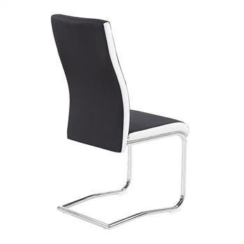 Lot de 4 chaises ALBA, en tissu noir et blanc