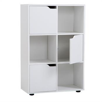 Bibliothèque VERMONT, rangement 6 casiers blanc mat