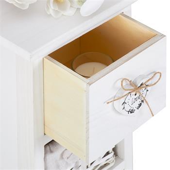 Chiffonnier FLOWER, 1 tiroir et 3 paniers, blanc