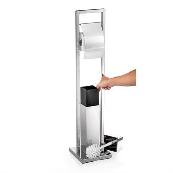RENATE Porte-papier toilette dérouleur avec brosse WC, en métal chromé