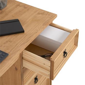 Bureau en pin SALSA avec 4 tiroirs, style mexicain, finition teintée/cirée