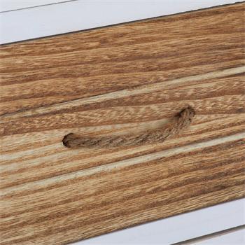 Chiffonnier VIENA avec 4 tiroirs et 1 panier, en bois de paulownia blanc brun et gris