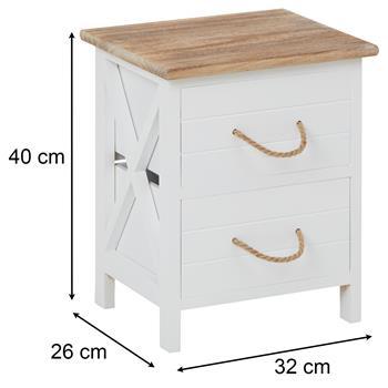 Table de chevet PERUGIA avec 2 tiroirs, en bois blanc