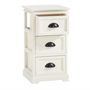 Table de chevet LANDHAUS, 3 tiroirs, blanc
