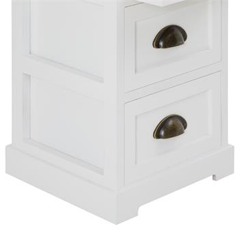Table de chevet LANDHAUS, 3 tiroirs, blanc