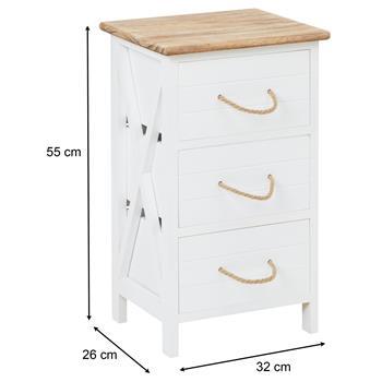 Table de chevet PERUGIA avec 3 tiroirs, en bois blanc