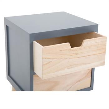 Table de chevet BAHIA, 2 tiroirs, gris
