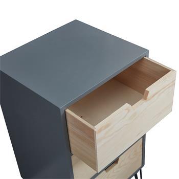Table de chevet BAHIA, 3 tiroirs, gris