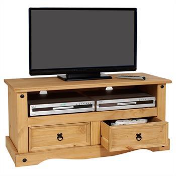 Meuble TV en pin SALSA style mexicain, avec 2 tiroirs