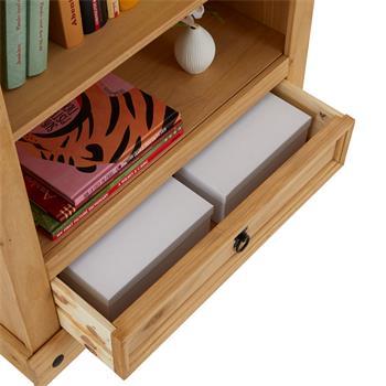 Bibliothèque en pin SALSA style mexicain, 3 étagères et 1 tiroir