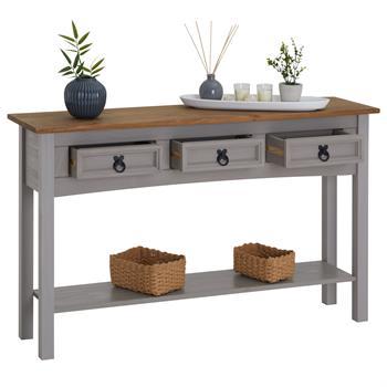 Table console RAMON avec 3 tiroirs, style mexicain en pin massif gris et brun