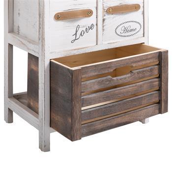 Table de chevet FLEUR, 2 petits et 1 grand tiroirs, blanc