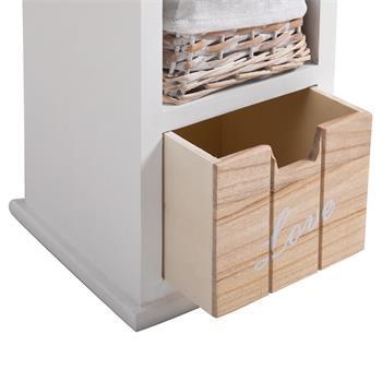 Chiffonnier PIEMONT, 2 tiroirs et 1 panier, blanc