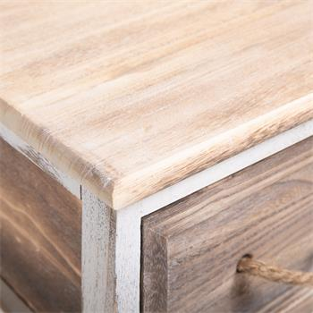 Table de chevet BELLANO, 2 tiroirs, blanc et brun