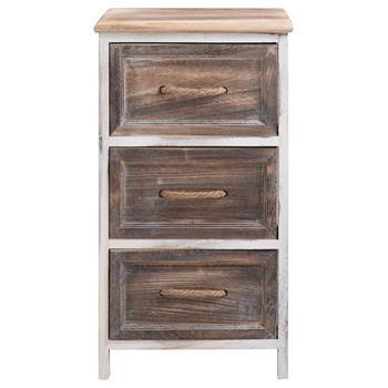 Table de chevet BELLANO, 3 tiroirs, blanc et brun