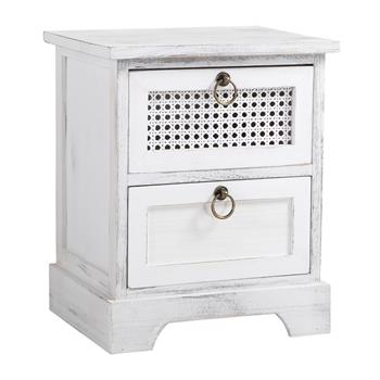 Table de chevet IRMA, 2 tiroirs, blanc