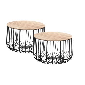 Lot de 2 tables d'appoint PADOVA, en métal noir