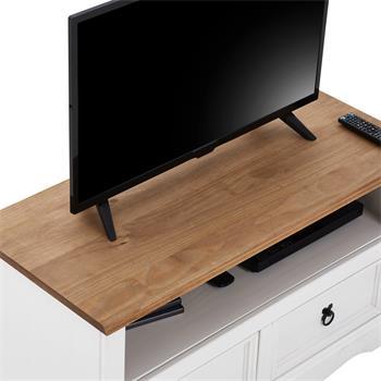 Meuble TV CAMPO avec 2 tiroirs, style mexicain en pin massif blanc et brun
