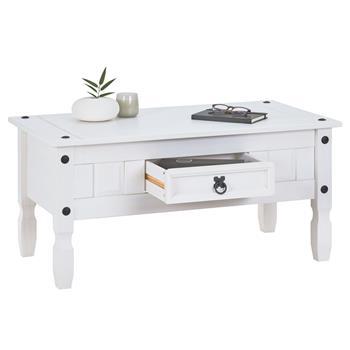 Table basse RURAL avec 1 tiroir, style mexicain en pin massif blanc