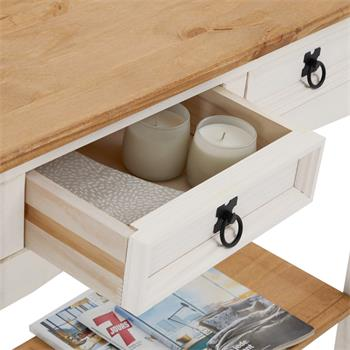 Table console CAMPO avec 2 tiroirs, style mexicain en pin massif blanc et brun