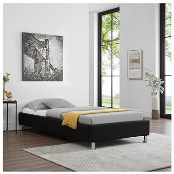 Lit futon simple NIZZA, 90 x 190 cm, avec sommier, revêtement en tissu noir