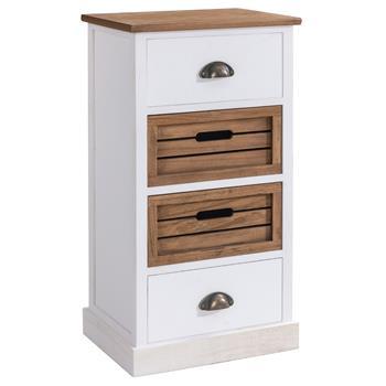 Chiffonnier CORNELIA, 2 tiroirs et 2 caisses de rangement, blanc et brun