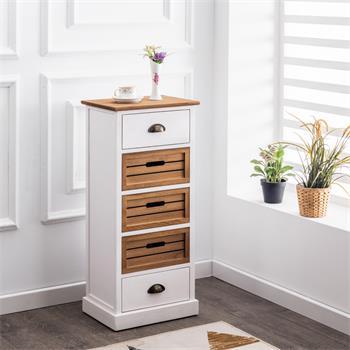 Chiffonnier CORNELIA, 2 tiroirs et 3 caisses de rangement, blanc et brun