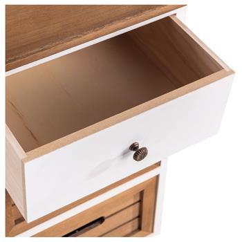 Table de chevet CORNELIA, 1 tiroir et 2 caisses de rangement, blanc et brun