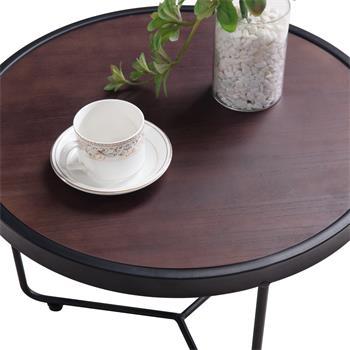 Table basse ronde SALVADOR, en métal noir et décor bois foncé