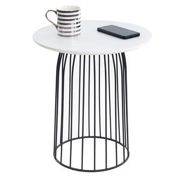 Table basse ronde SALAMANCA, en métal noir