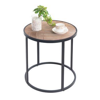 Table basse ronde JERICO, en métal noir et décor bois naturel