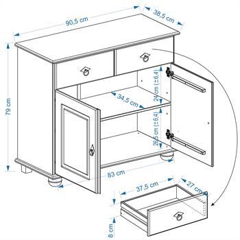 Buffet en pin BELFORT, 2 portes + 2 tiroirs, finition cirée