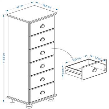 Chiffonnier en pin COLMAR 6 tiroirs, finition cirée