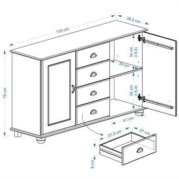 Buffet COLMAR en pin massif, 4 tiroirs et 2 portes, finition cirée