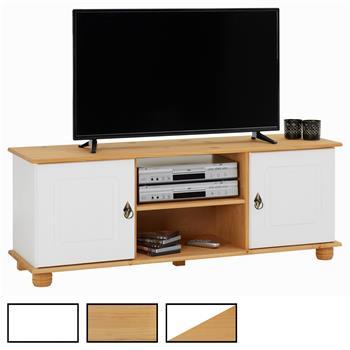 Meuble TV en pin BELFORT, 2 portes + 2 niches