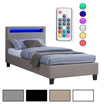 Lit simple MOLINA, 90 x 190 cm, avec LED intégrées et sommier, revêtement en tissu