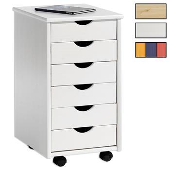 Caisson de bureau sur roulettes LAGOS, 5 ou 6 tiroirs, 5 coloris disponibles