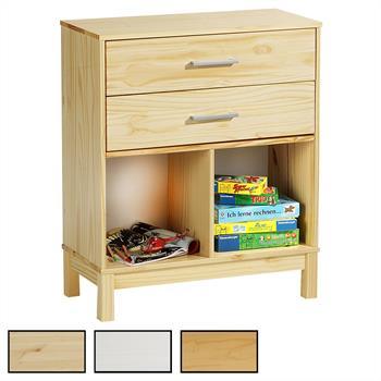 Etagère 2 casiers 2 tiroirs en pin LOGO, 3 coloris disponibles