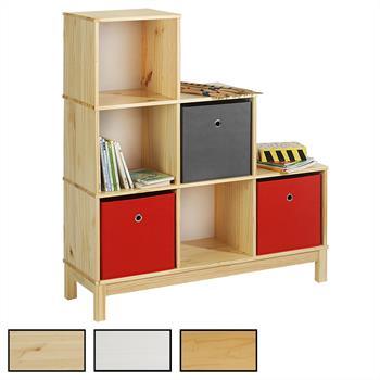Etagère escalier en pin LOGO, 6 casiers, 3 coloris disponibles